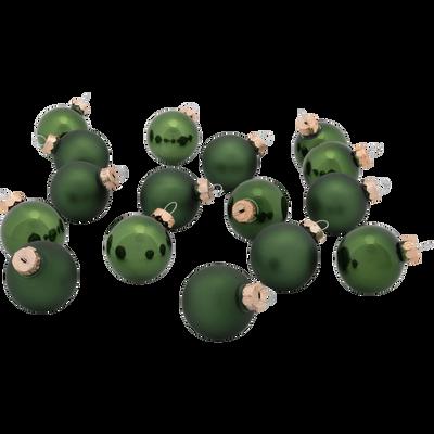 16 mini boules Noël en verre vert D3,5cm-OLAN
