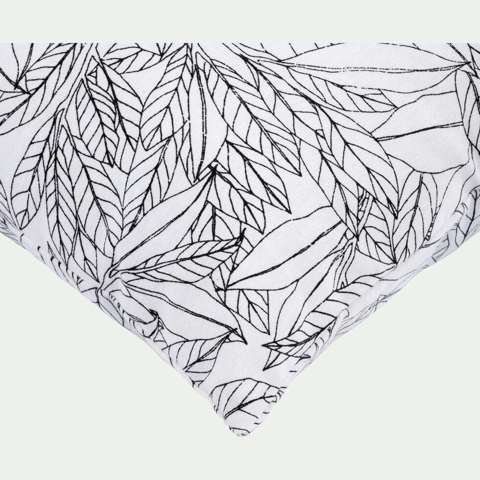 Coussin à motif laurier blanc et noir 40x40cm-LAURIER