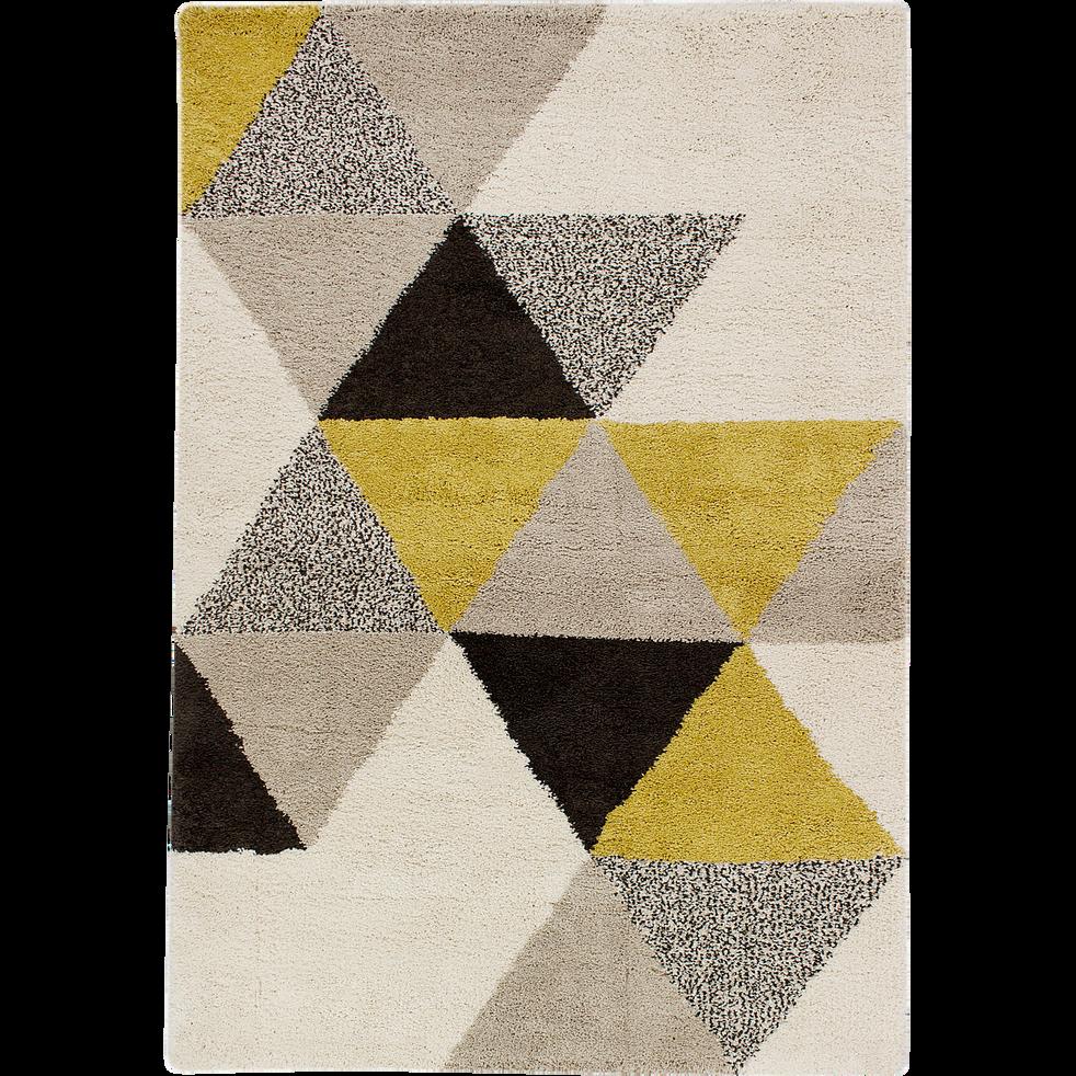 Tapis à poils longs motifs géométriques jaune 160x230cm-OSLO