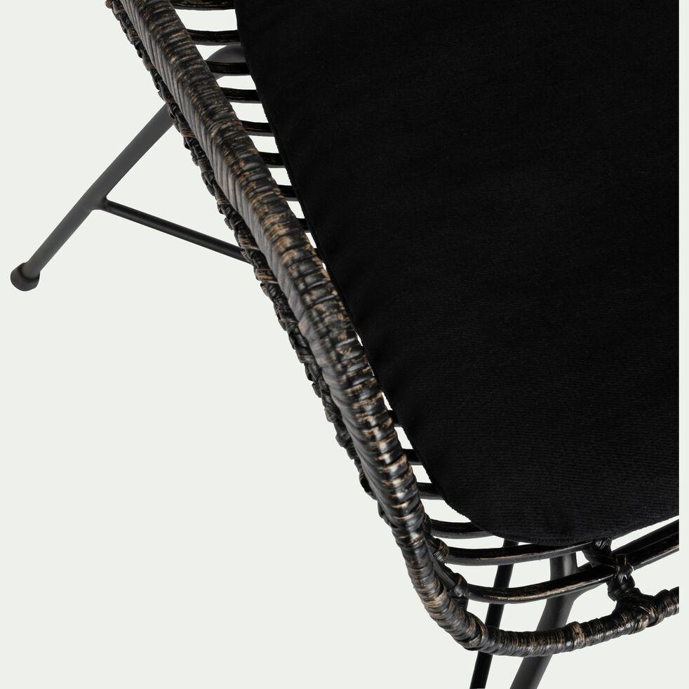 Chaise en rotin foncé avec accoudoirs-MILOU