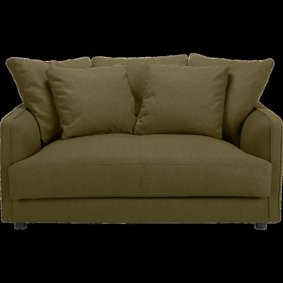 Canapé 2 places fixe en tissu vert cèdre-LENITA
