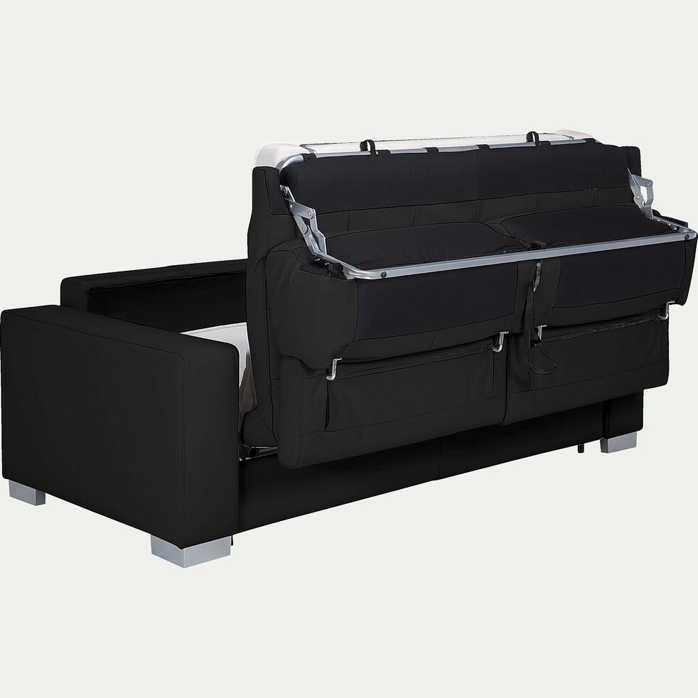 Canapé 3 places convertible en cuir de buffle noir-Mauro