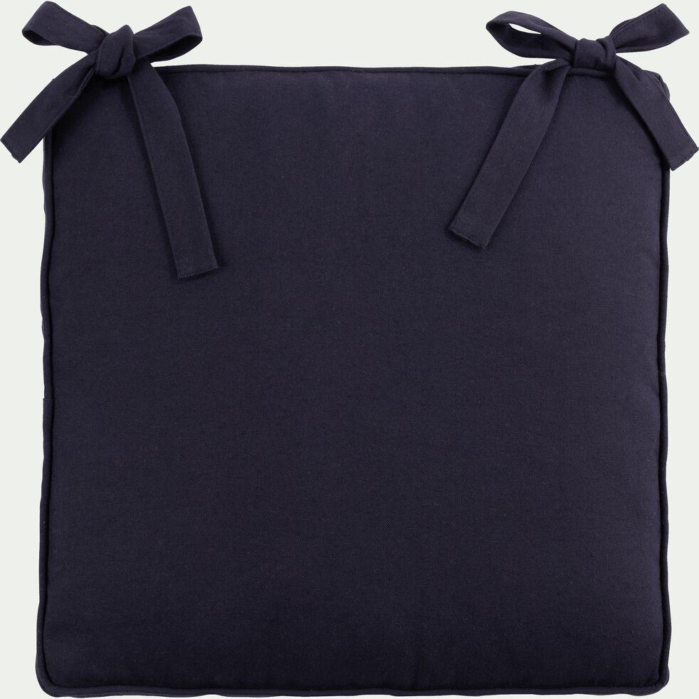 Galette de chaise carrée en coton bleu niolon 38x38cm-BORMES