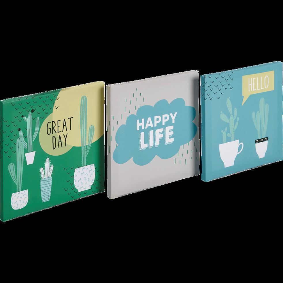 Set de 3 toiles imprimées 30x30cm cactus-CACTUS