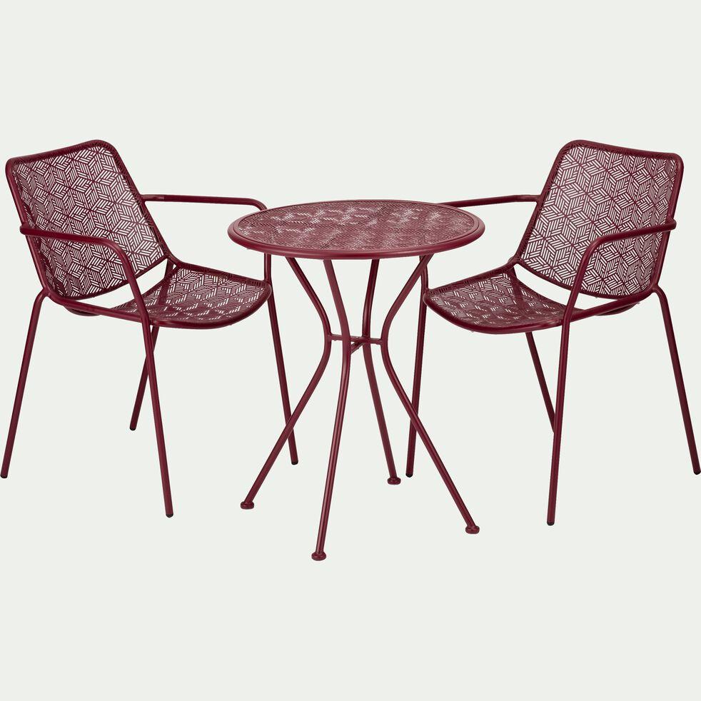 Table de jardin ronde en acier rouge sumac (2 places)-LINO