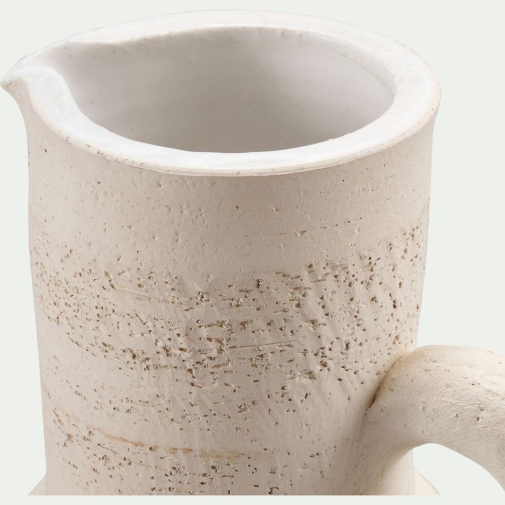 Pichet en terre chamottée - blanc ventoux D12X21cm-TERRE