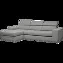 Canapé d'angle gauche convertible en tissu gris clair-TONIN