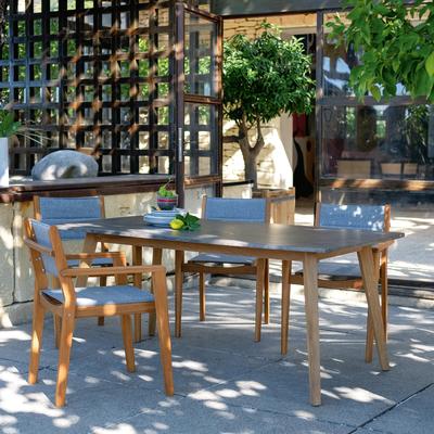 Fauteuil de jardin empilable en acacia gris-DEGABY