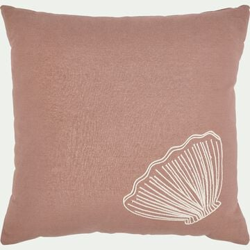 Coussin carré brodé coquillage 40x40cm - rose-Songe