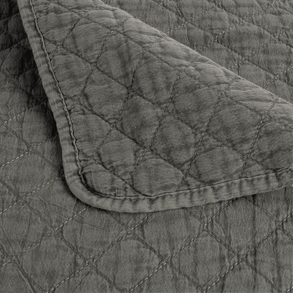 Jeté de lit effet lavé vert cèdre 180x230cm-THYM