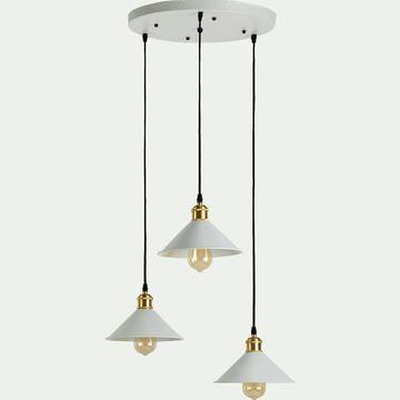 Suspension en métal 3 lampes - blanc H100cm-GIULIAN