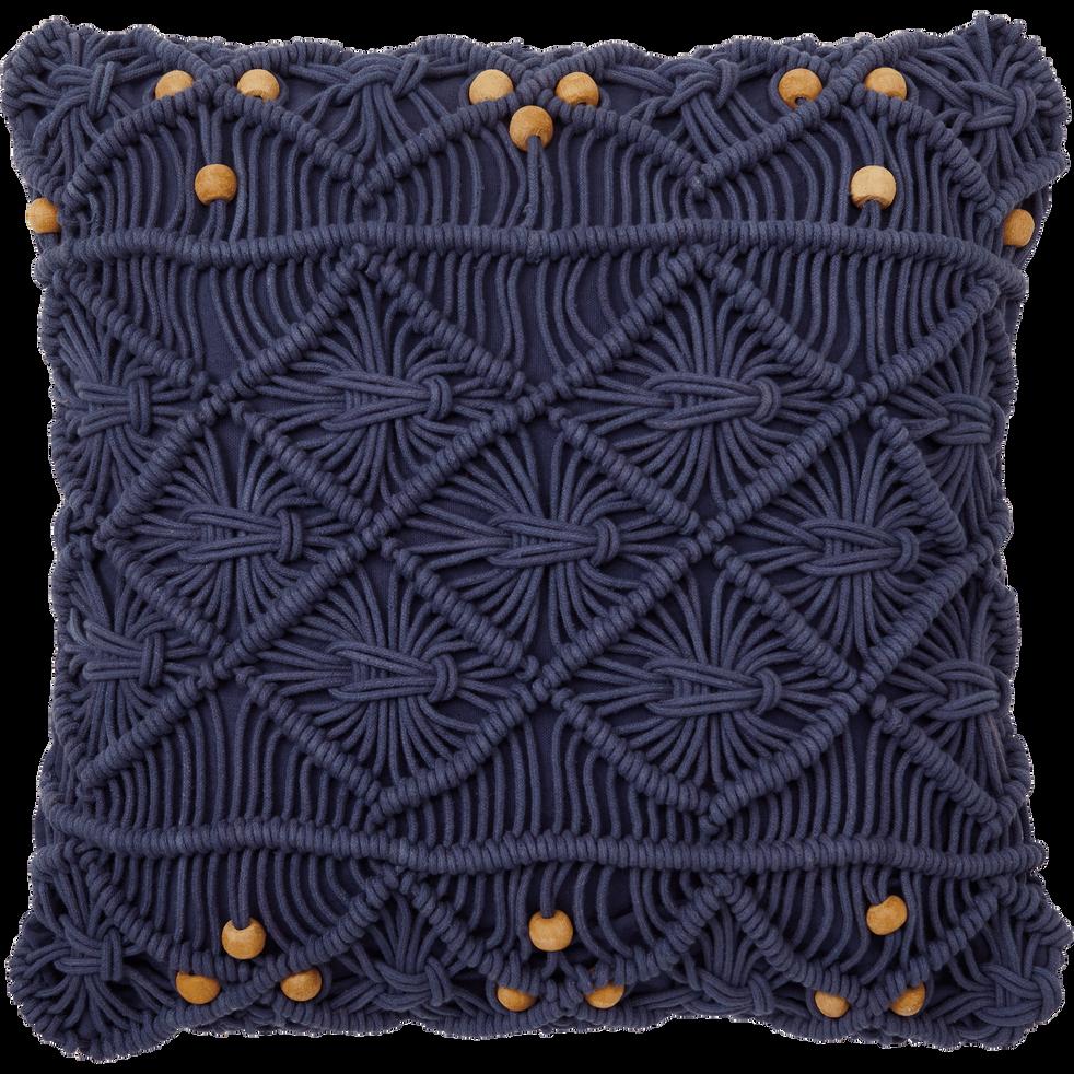 Housse de coussin en coton bleu myrthe 45x45 cm-MOUNIA