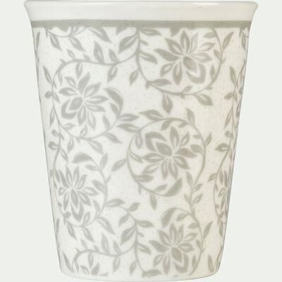 Lot de 6 tasses en porcelaine gris borie motif jasmin 9cl-CAMILLE
