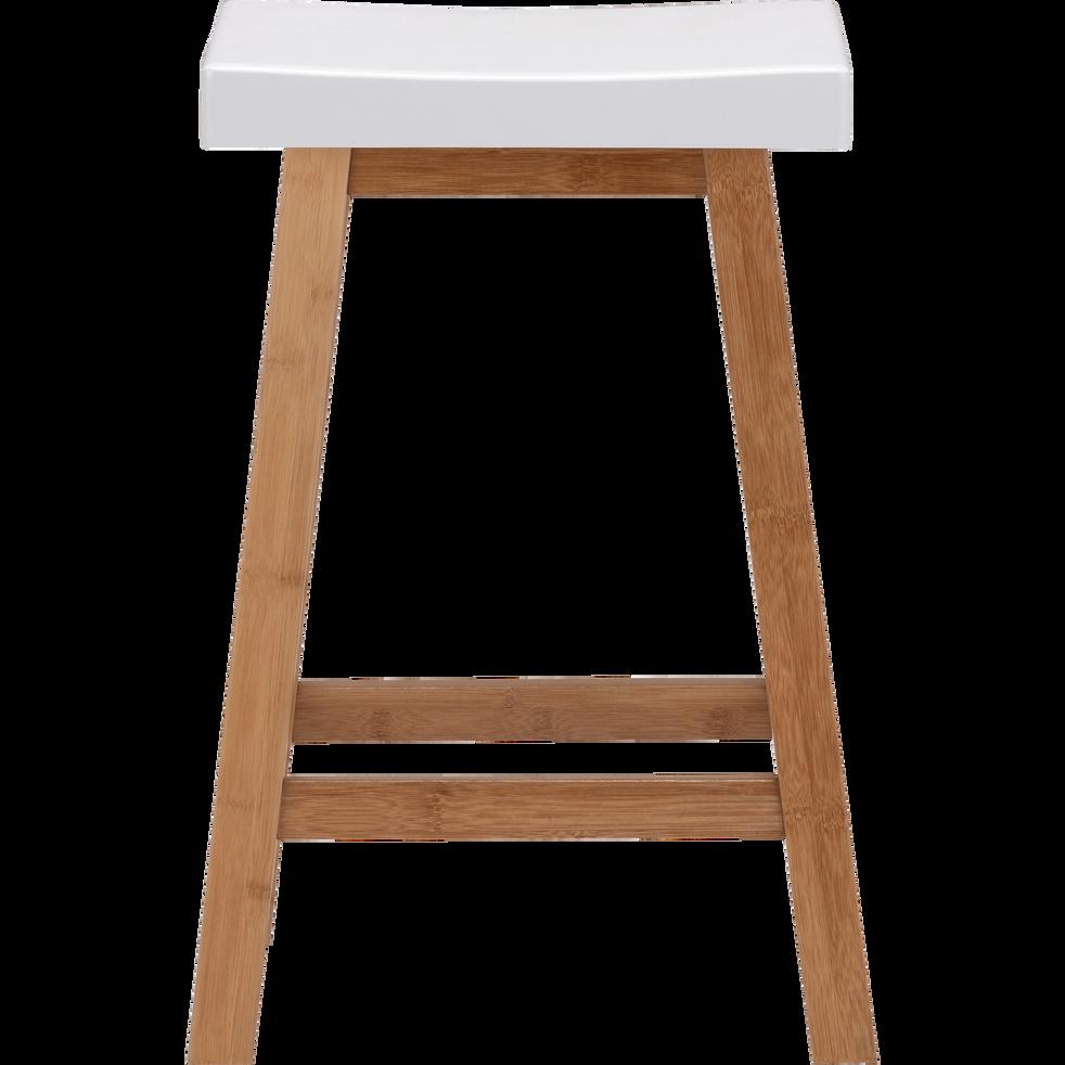 BULUH - Tabouret bicolore bois et blanc - H60cm
