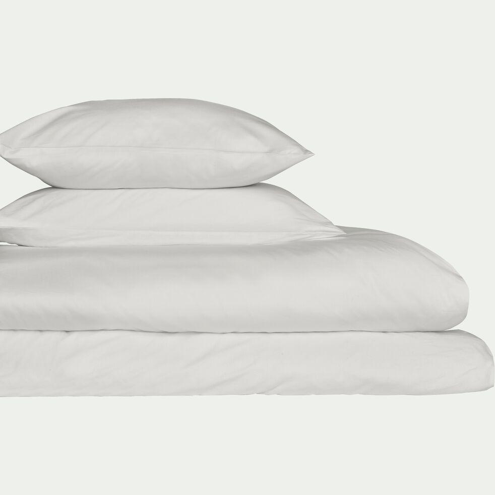 Taie de traversin en percale de coton - blanc ventoux 43x190cm-FLORE