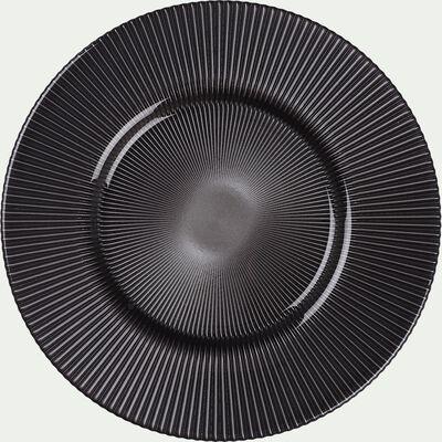 Assiette plate en verre strié gris opaque D28cm-SPLENDIDE