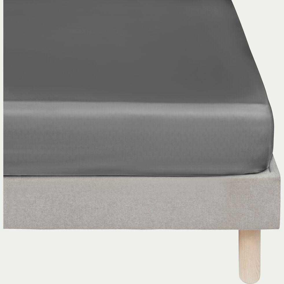 Drap housse rayé en satin - gris restanque 140x200cm B25cm-SANTIS