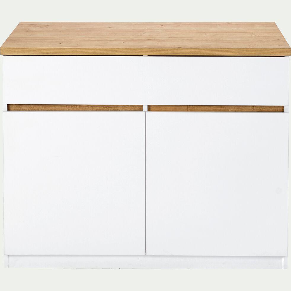 Ilot central de cuisine en bois L115cm - blanc-GABIN