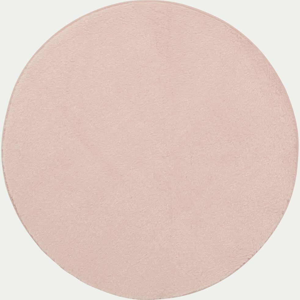 Tapis rond imitation fourrure - rose argile D70cm-ROBIN