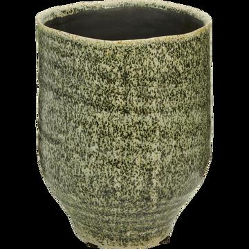Cache-pot en céramique vert D14xH17cm-Parme