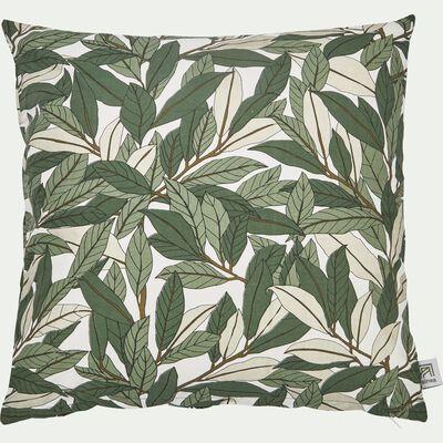 Coussin motif Laurier en coton - vert 40x40cm-LAURIER