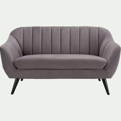 Canapé 2 places fixe en velours - gris restanque-SHELL