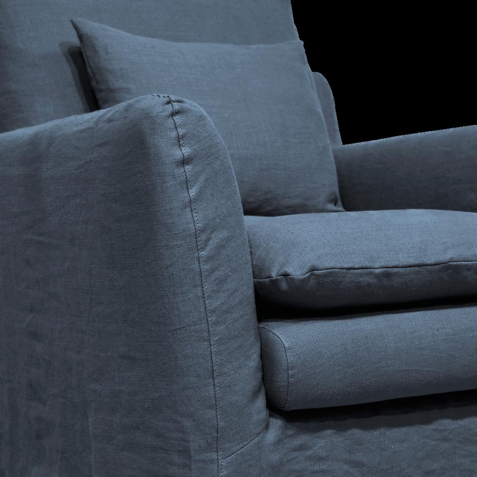 Fauteuil jupe longue en lin bleu myrte-FITOU