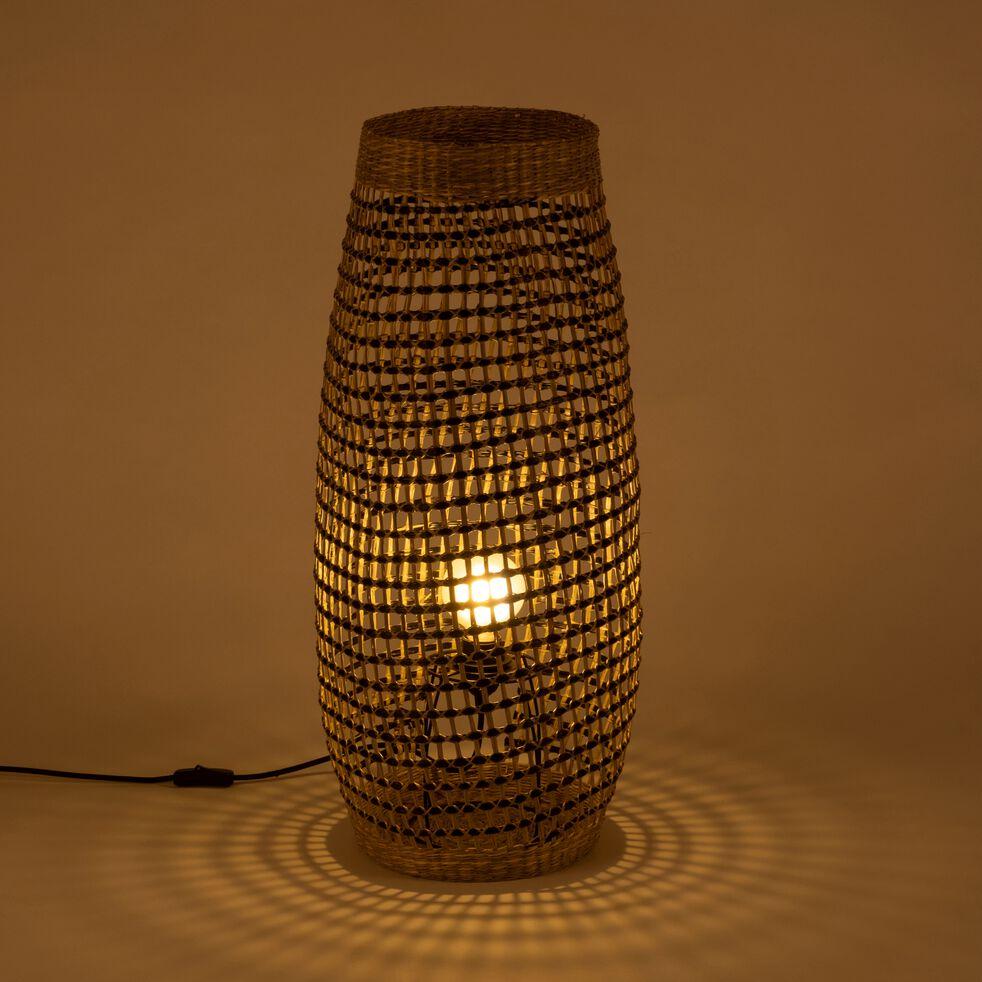 Lampe à poser en zostère noir H74xD31cm-Hudson