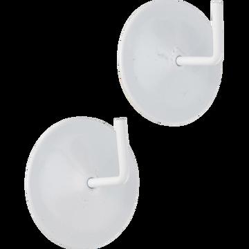 Lot de 2 supports adhésifs en métal laqué blanc-SUPPORT