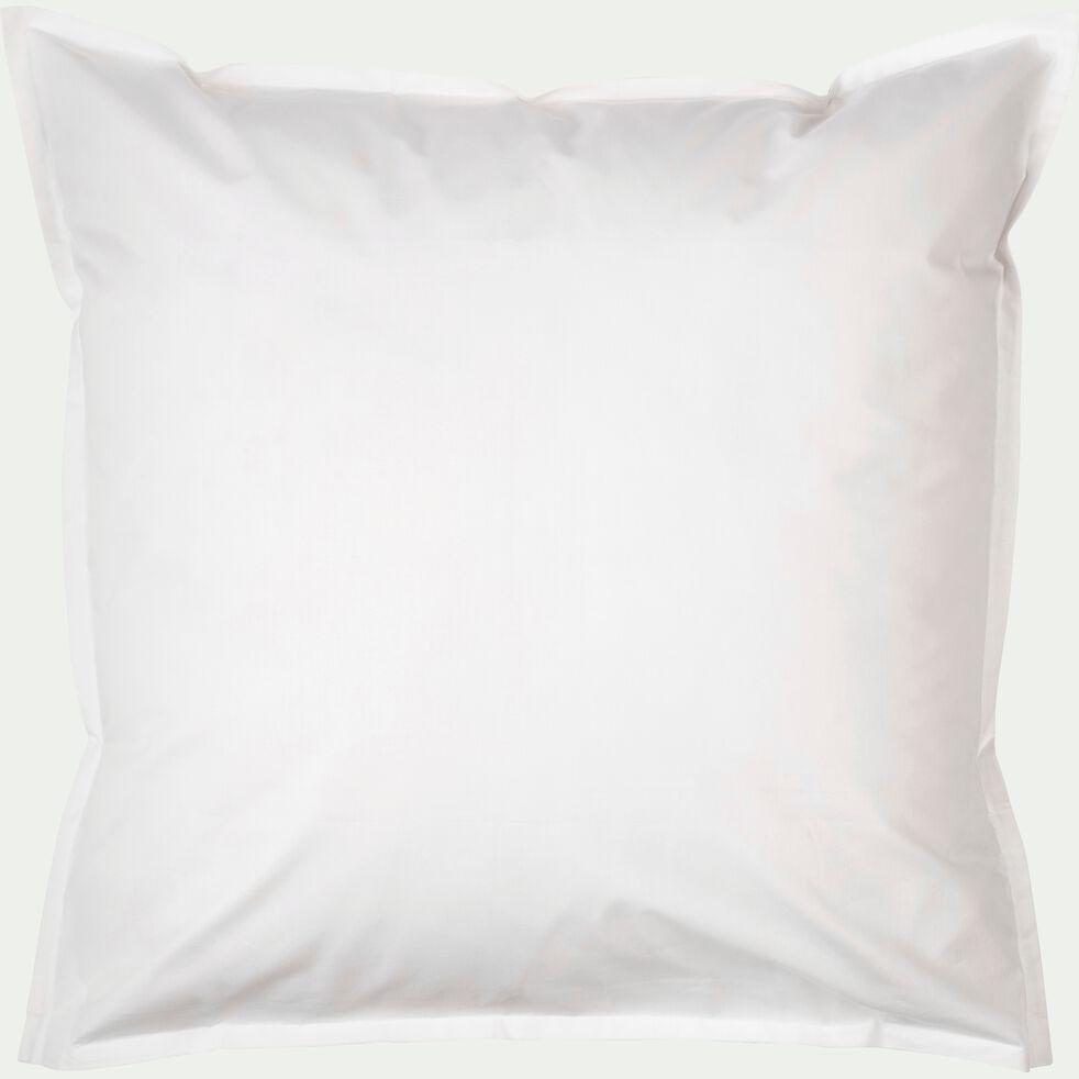 Lot de 2 taies d'oreiller en percale de coton - blanc ventoux 65x65cm-FLORE
