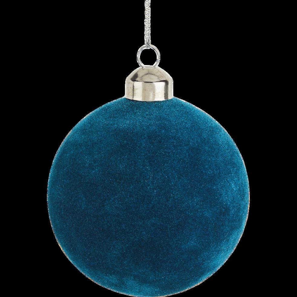 Boule de Noël en verre bleu D8cm-MONGE