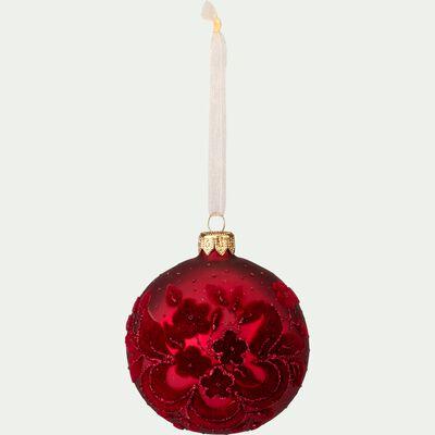 Boule de Noël en verre rouge D8cm-ANDRES