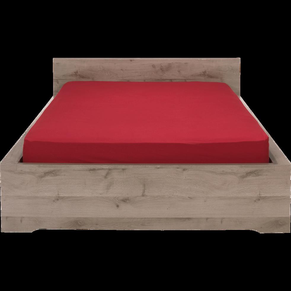 Lit 2 places avec tête de lit finition chaîne cendré - 140x190 cm-Brooklyn