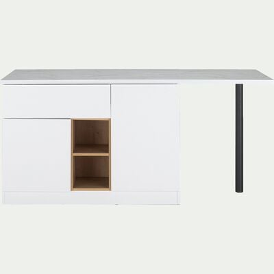 Ilot central de cuisine en bois - blanc-GINKO