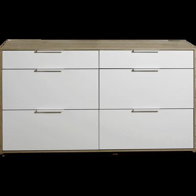 Commode 6 tiroirs finition chêne clair et façade blanche-MILANO