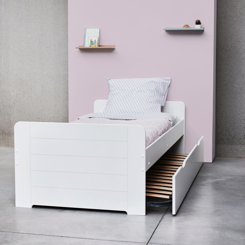 lit 1 place gigogne blanc 90x200 cm andys 90x200 cm lits enfants 1 place alinea. Black Bedroom Furniture Sets. Home Design Ideas