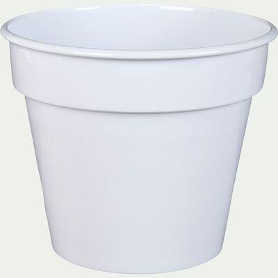Cache-pot blanc en fer H15xD17cm-FLORA