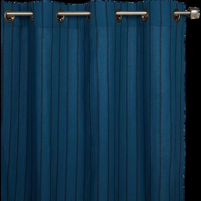 Voilage à rayures en coton bleu figuerolles 135x250cm-DENIS