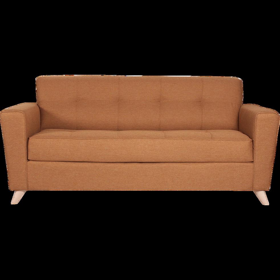 canap 3 places convertible en tissu jaune d 39 or vicky canap s droits en tissu alinea. Black Bedroom Furniture Sets. Home Design Ideas