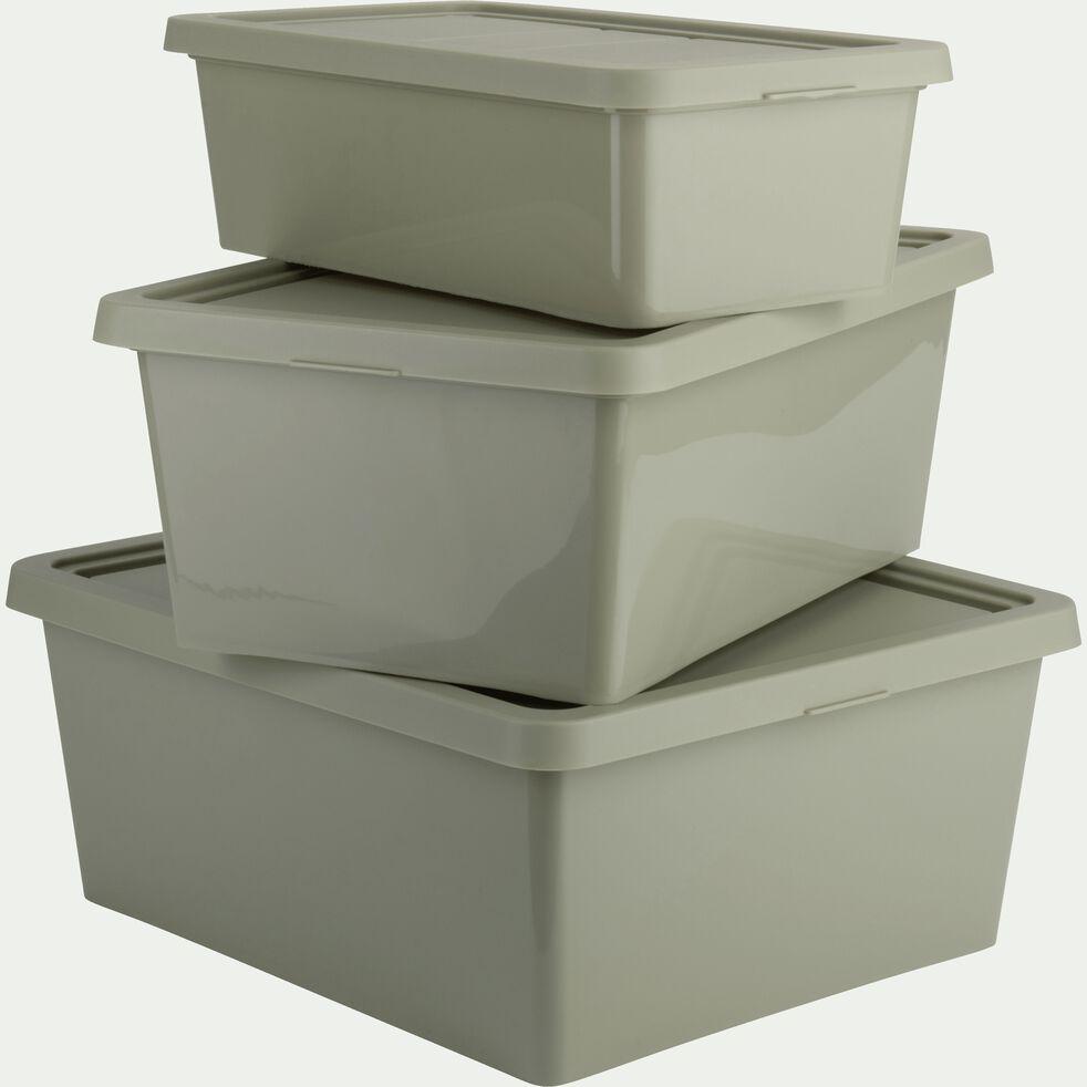 Boîte de rangement en plastique vert olivier H19xP10,5x34,5 cm - ANDATI - boîte de rangement ...