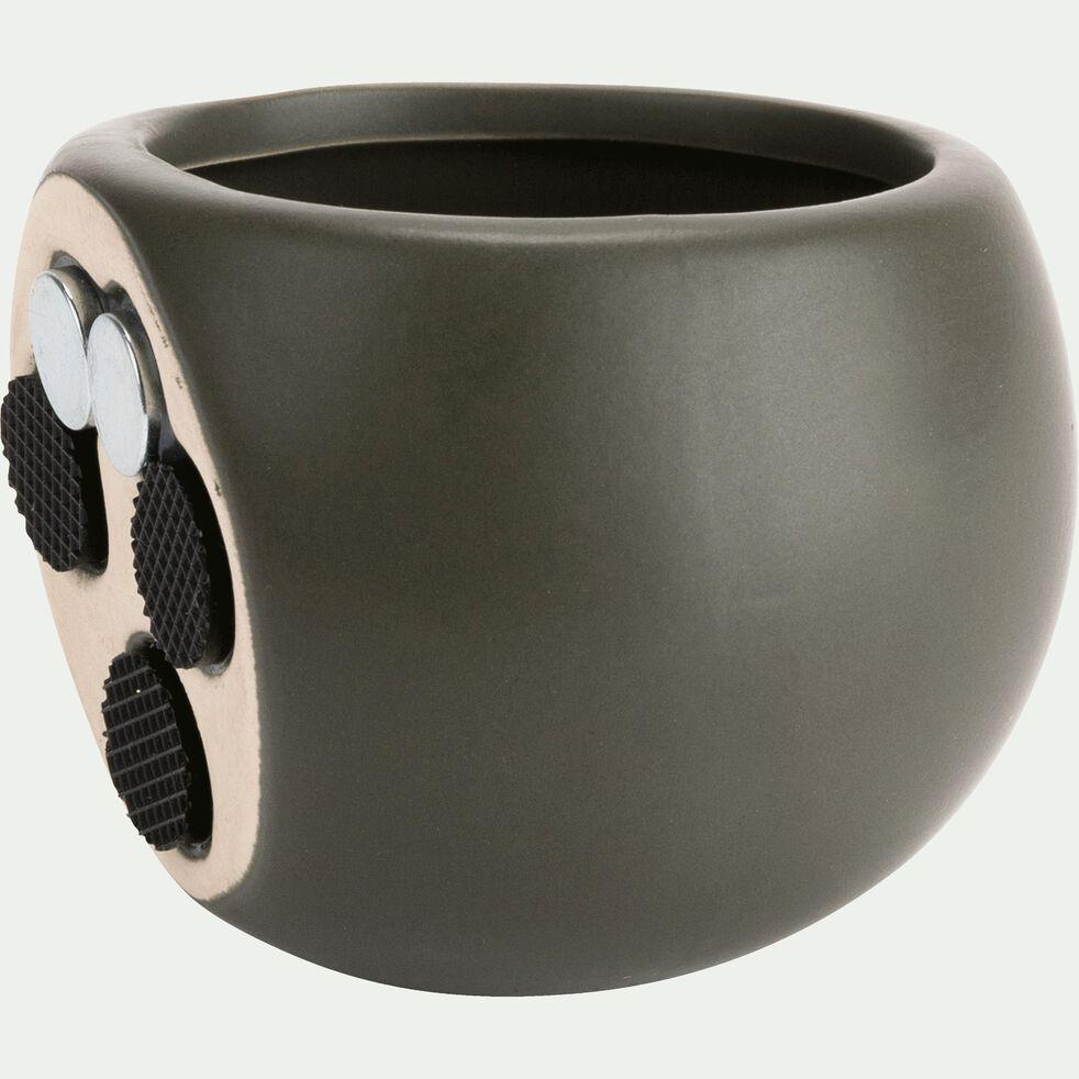Cache-pot en céramique - vert cèdre - H10xD6cm-mai