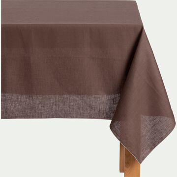 Nappe en lin et coton brun ombre 170x250cm-MILA