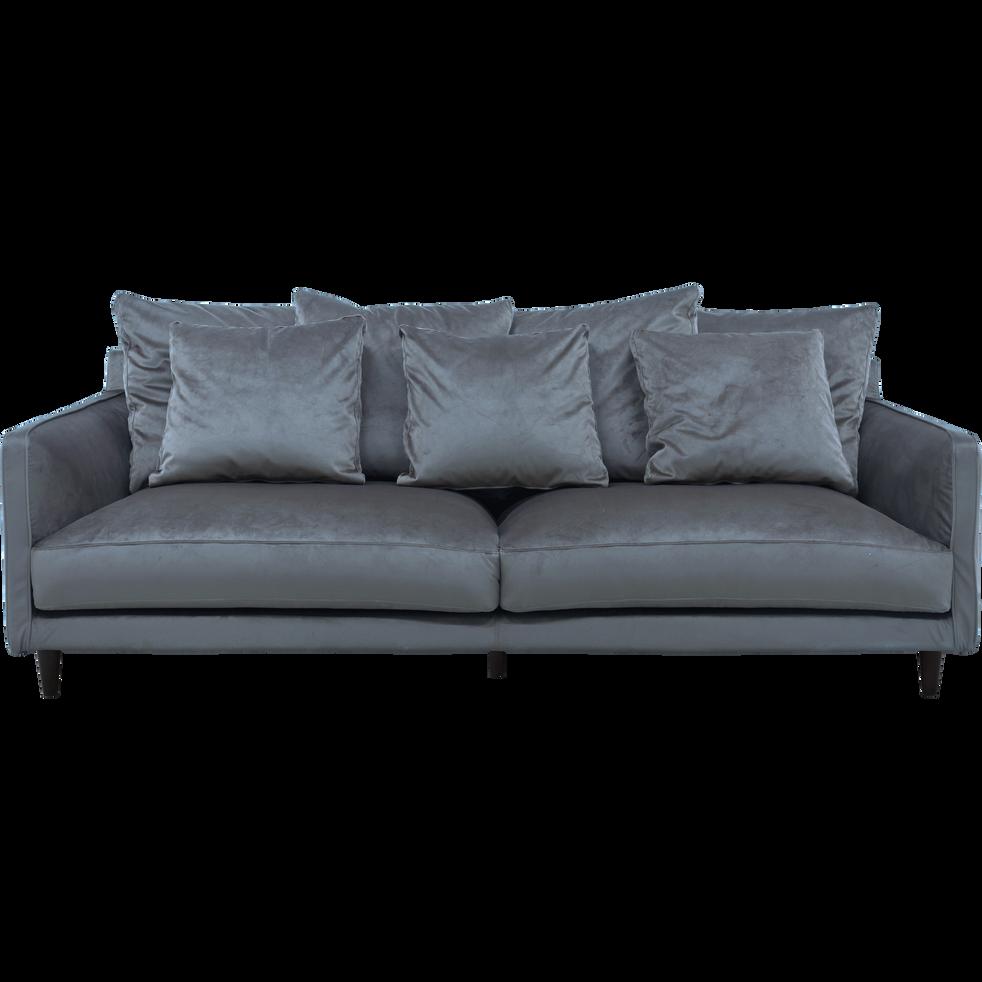 Canapé 4 places fixe en velours gris restanque-LENITA