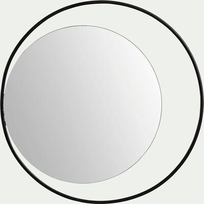 Miroir graphique rond en métal noir D30cm-ROMY