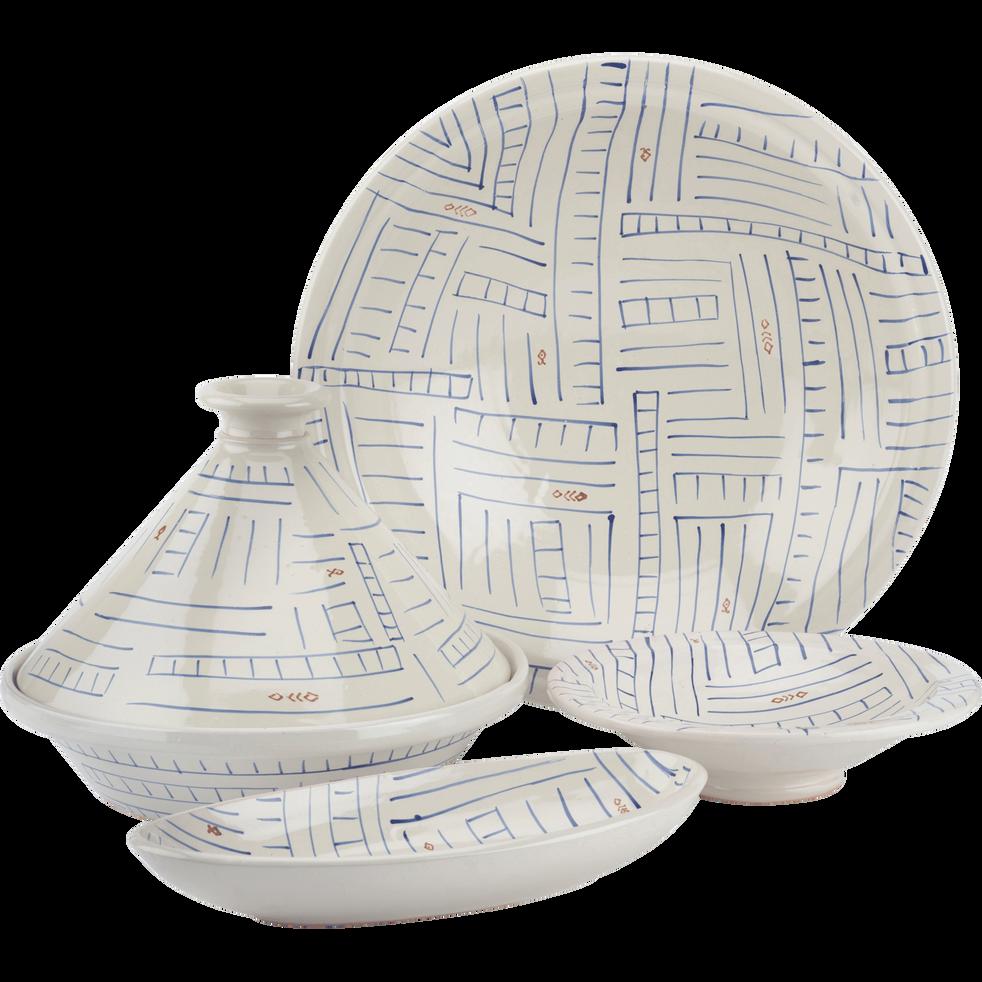 Plat en terre cuite émaillée blanc D37cm-SOUK