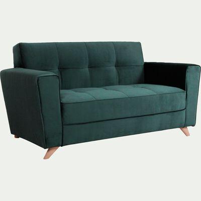 Canapé 2 places fixe en velours vert foncé-VICKY