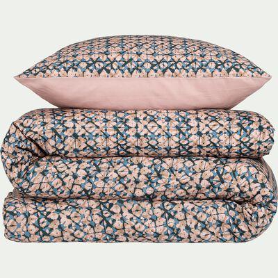Housse de couette en coton 240x220cm et 2 taies d'oreillers à motifs rose-TINTO