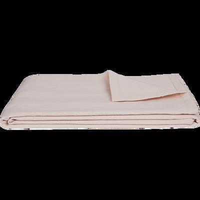 Plaid tissé en coton rose grège 180x230cm-BELCODENE