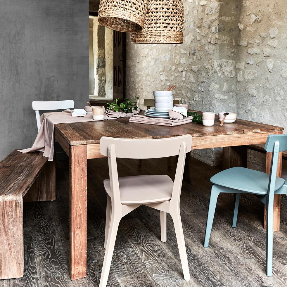 EMOTION - Table de repas carrée en teck recyclé - 8 places