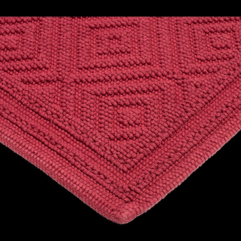 Tapis de bain en coton 60x100cm piquage en losanges rouge sumac-SADOU